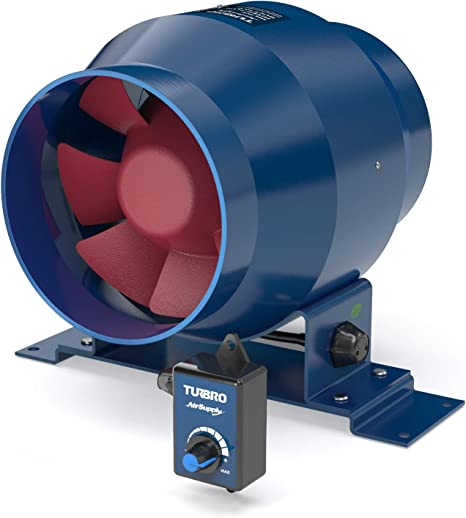 turbro airsupply es4 4 inch inline duct fan 195 cfm energy efficient exhaust fan with variable speed controlled ec motor for grow tents hydroponics