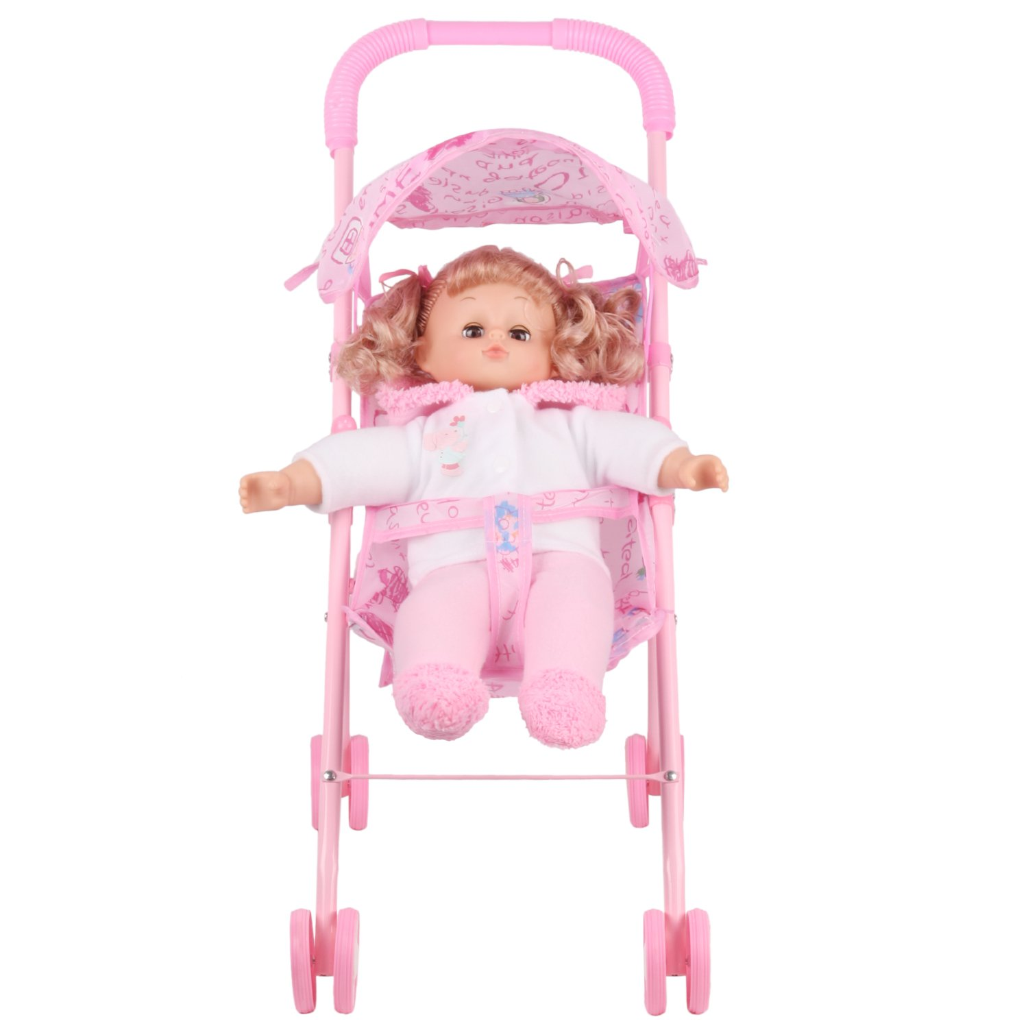 Irony Pink Doll Stroller Baby Carriage Foldable with 4 Wheels with Hood