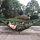 BHYZL 0.6kgs 300x180cm 2 Person Travel Camping Outdoor Nylon Fabric Double Hammock Parachute Bed for Camouflage Army