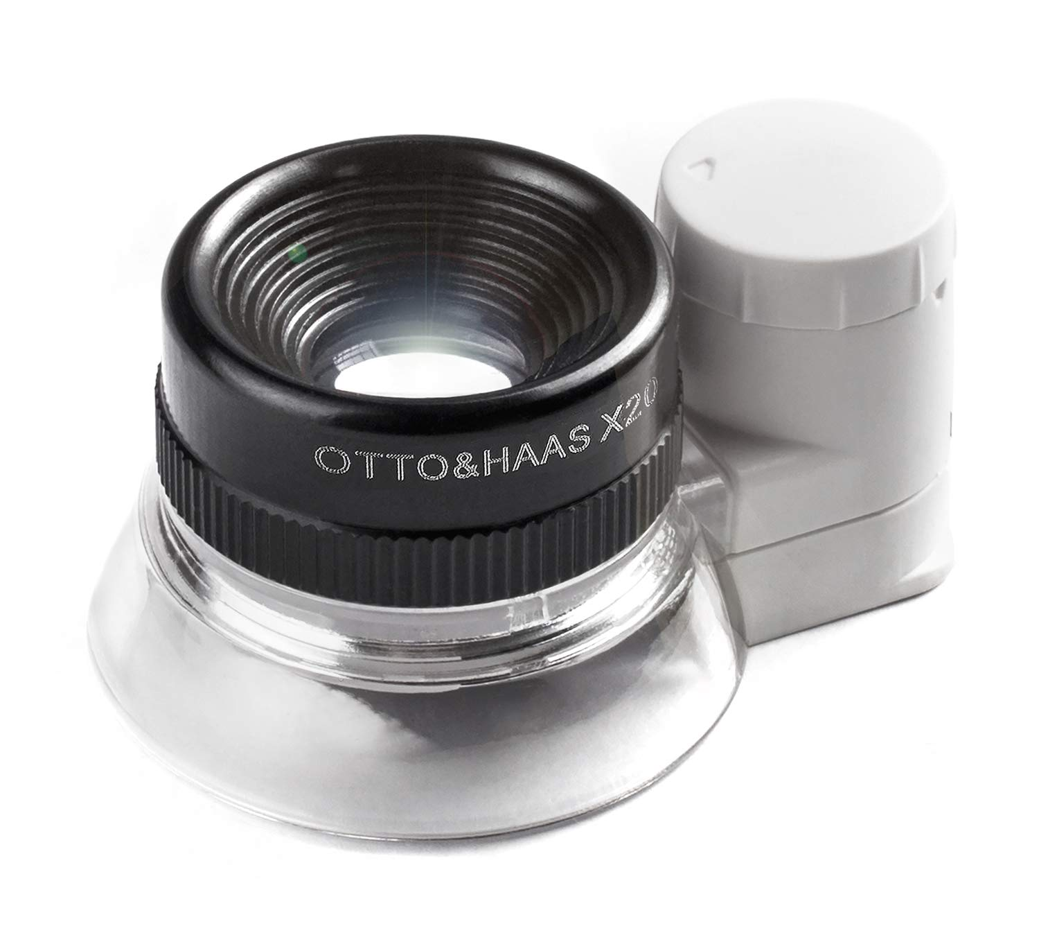Otto&Haas Lighted Jeweler's Loupe Magnifier - 6 LED Illuminated 20X Magnification Loop, Scope Lupe with Light for Coin Collection Supplies, Stamp Collecting, Eye-Piece for Close Work, Collector's Gift by Otto&Haas