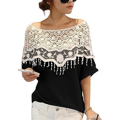 luxe prix modéré véritable Femme T-shirt Crochet Dentelle Batwing Manches Sans ...