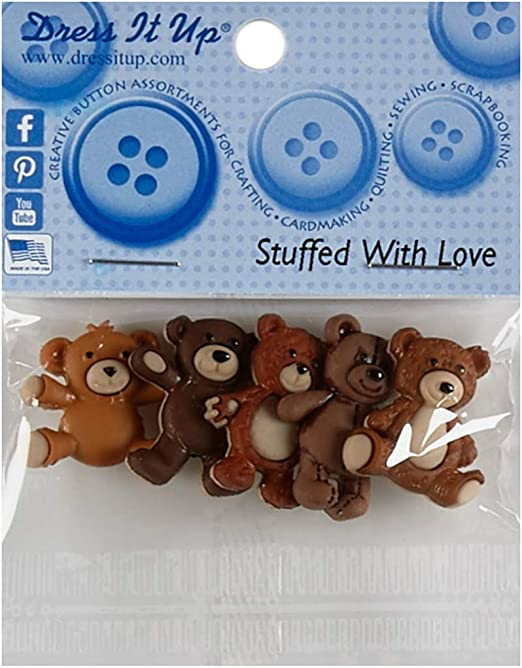 Jesse James Company Dress It Up Embellishment Buttons 3pc - Stuffed with Love Various