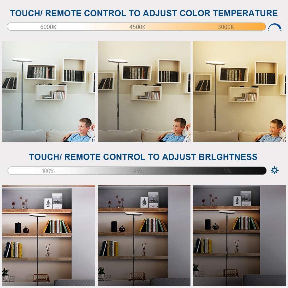 Touch-Taste Memoryfunktion LED Standleuchte f/ür Wohnzimmer Schlafzimmer Arbeitszimmer B/üro Stehleuchte mit Fernbedienung Farbwechsel 3000K//4000K//5000K Anten 20W Silbergrau LED Stehlampe Dimmbar