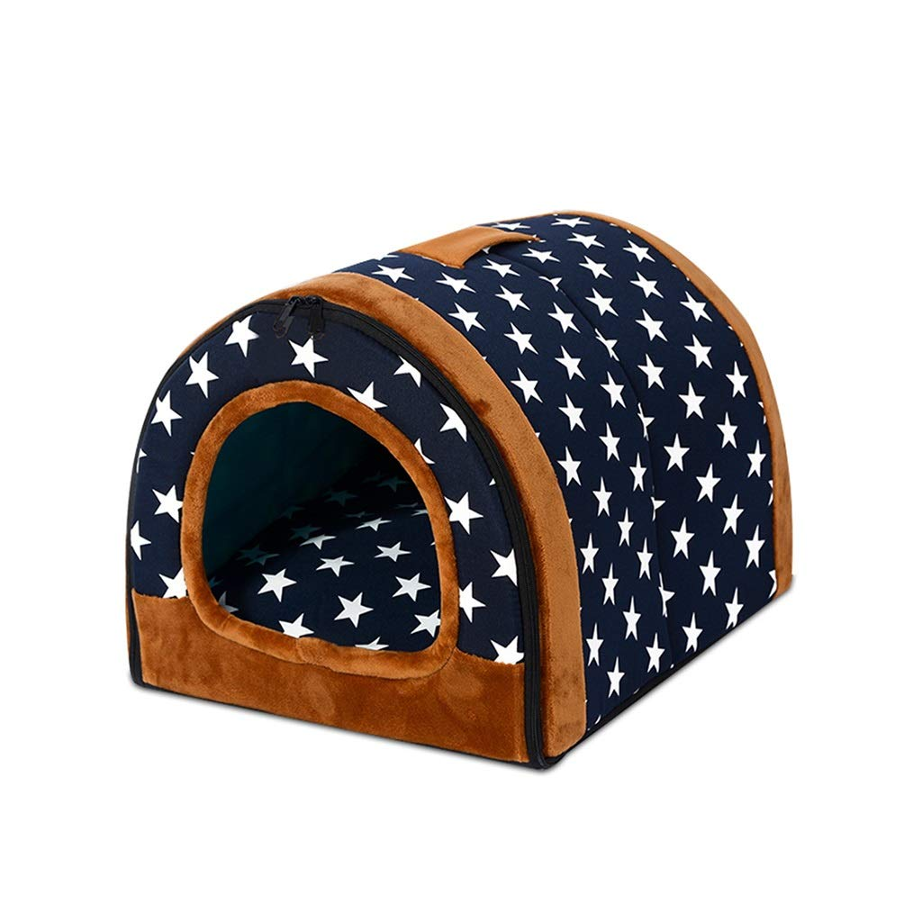 A Large A Large CWWYJL Pet House 2 In 1 Pet House And Sofa, Non-slip Foldable Soft Warm Cat Puppy Pet Nest Cave Bed House With Removable Cushion 4 Sizes (color   A, Size   L)
