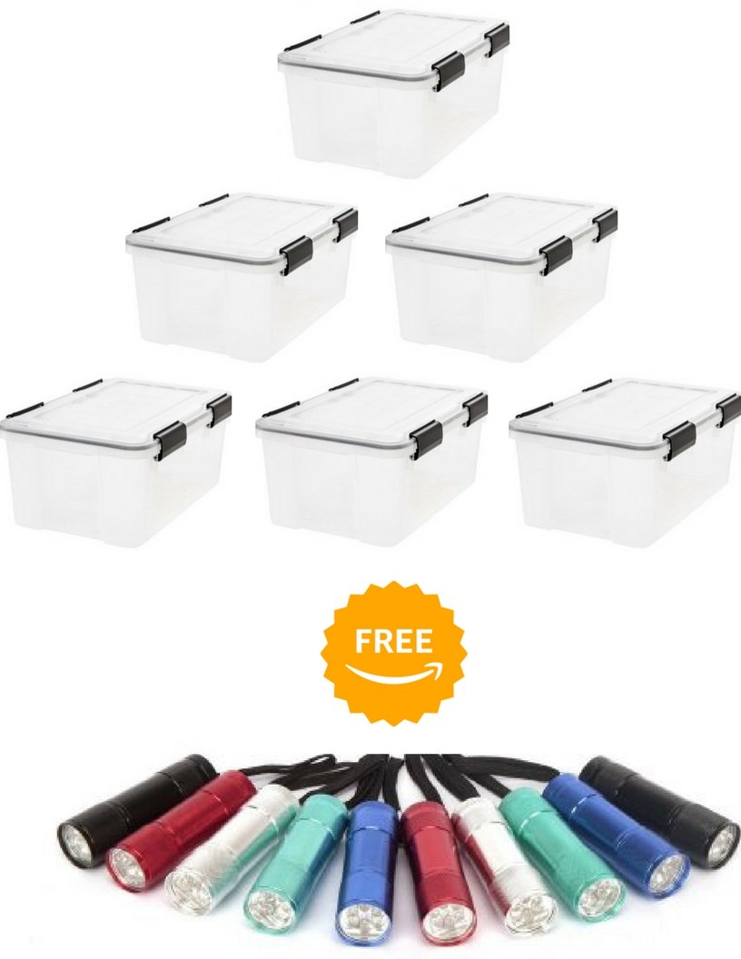 IRIS Weathertight Storage Box, 19 Quart - Clear, Pack of 6 with FREE 10-Pack FLASH LIGHT