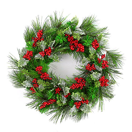 Naice PVC Pine Tips Christmas Wreath with Red Berries, Snowflakes, Holly Leaves - Christmas Wreaths