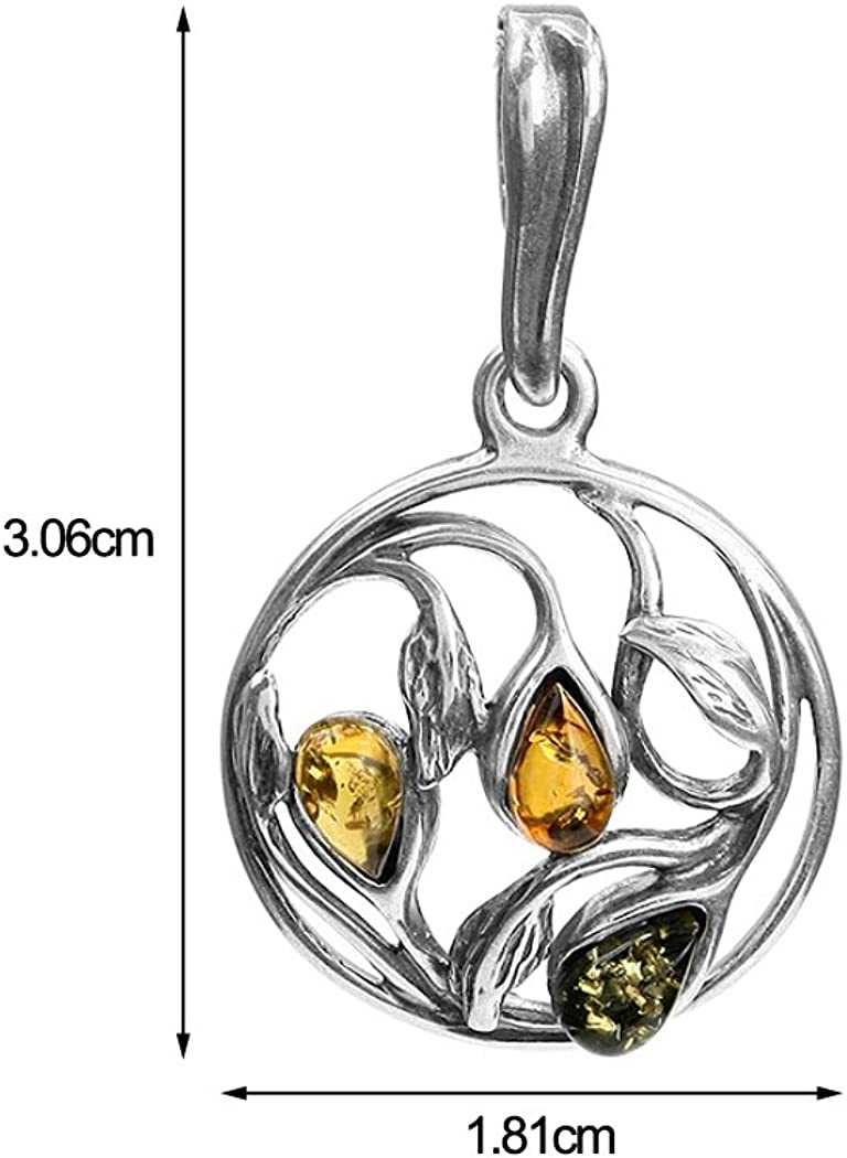 Multicolor Amber Sterling Silver Round Mosaic Leaf Pendant Necklace Chain 18