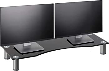 VonHaus Large Curved Glass Monitor Stand - Adjustable Height Multiple Screen Riser for PC Monitors, Computers, Laptops & TVs - 27.5 x 9.5 inches - Black