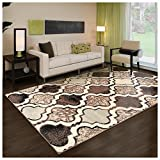 Superior Modern Viking Collection Area Rug, 8mm Pile Height with Jute Backing, Chic Textured Geometric Trellis Pattern, Anti-Static, Water-Repellent Rugs - Ivory, 5' x 8' Rug