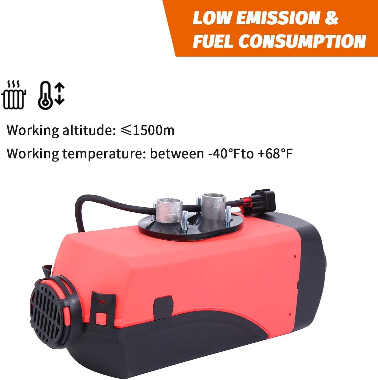 Camping Car Bateau Diesel Air Heater avec t/él/écommande /à bouton r/éservoir du r/échauffeur Honhill 2KW Chauffage Diesel 12V pour Voiture Remorque Camion
