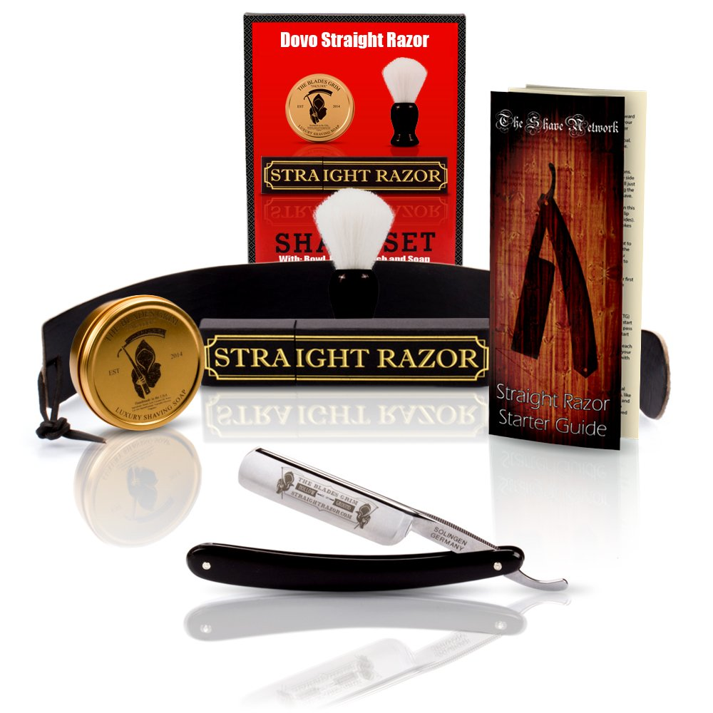 Straight American 6/8 Straight Razor with Full Shaving Set Package By GB Buckingham & Sons