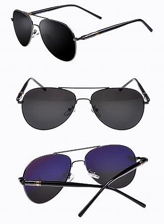 Gafas de Sol Polarizadas de Los Hombres Clásicos Gafas de Sol Del Conductor Del Espejo de la Almendra Gafas de Sol , Pistola Gris Y Gris: Amazon.es: ...