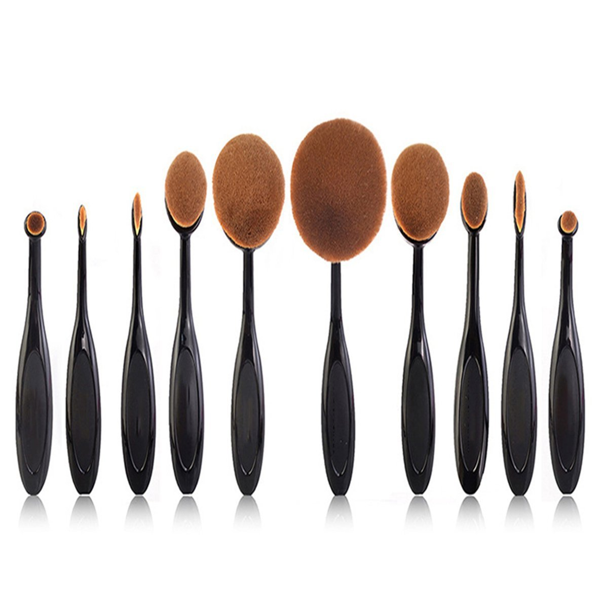 Minidog 10 Pcs Professional Oval Toothbrush Makeup Brush Set with Box , Different Shapes Brush Fit Application of Makeup or Face Painting - Black