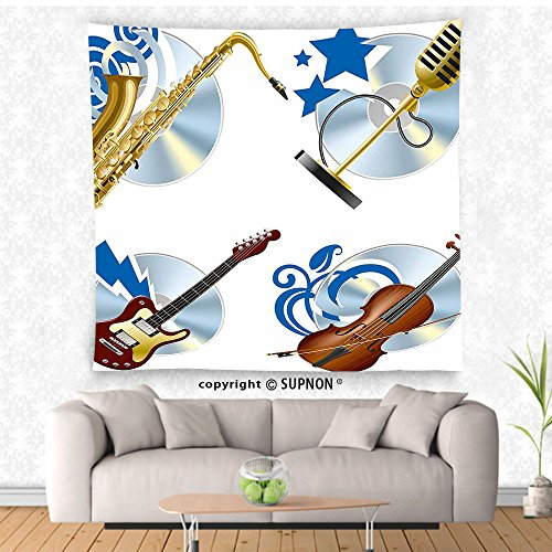 VROSELV custom tapestry Music Tapestry Jazz Instruments Saxophone Guitar Violin Microphone Melody Icons Graphic Art Wall Hanging for Bedroom Living Room DormGold Blue (Hanging French Purse)