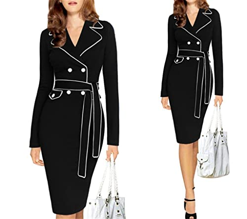 Wenli Women Long Sleeves Slim Business Party Suit Dresses