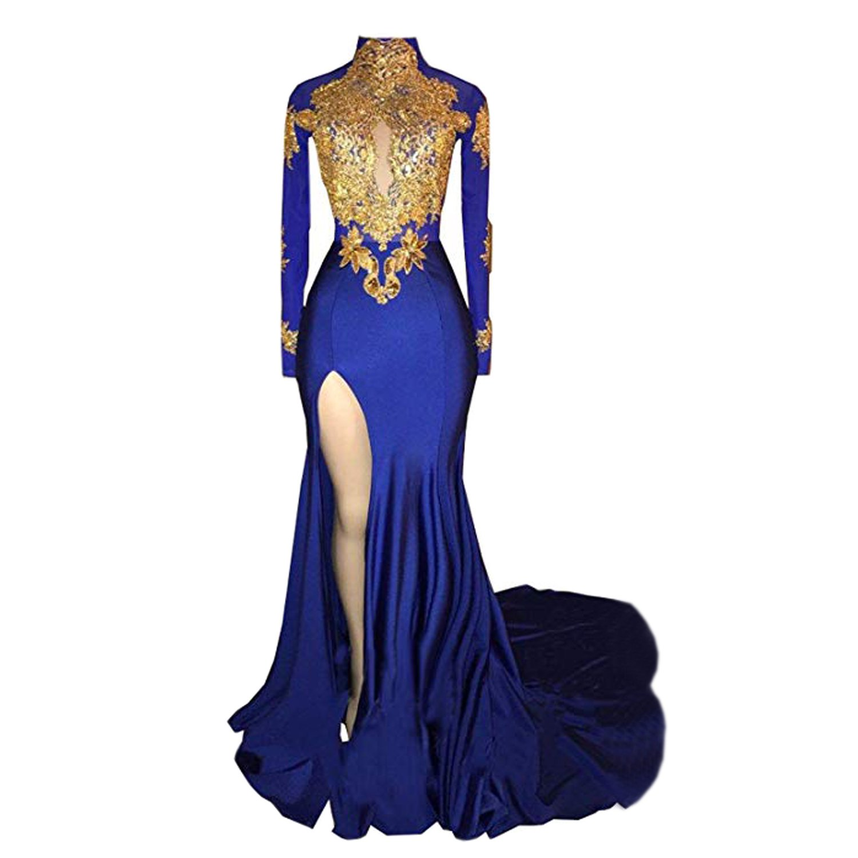 BridalAffair Womens Mermaid High Neck Prom Dress 2018 New Gold Appliques Long Sleeves Split Evening Gowns