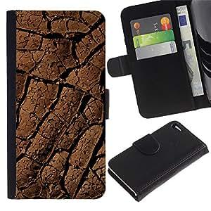 Planetar® Modelo colorido cuero carpeta tirón caso cubierta piel Holster Funda protección Para Apple iPhone 4 / iPhone 4S ( Desert Lines Drought Dirt Soil Pattern )