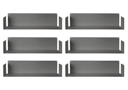 MENSOLA DESIGN per LIBRI - SET di 6 - ACCIAIO - BIANCO - 60 cm, D 15 ...