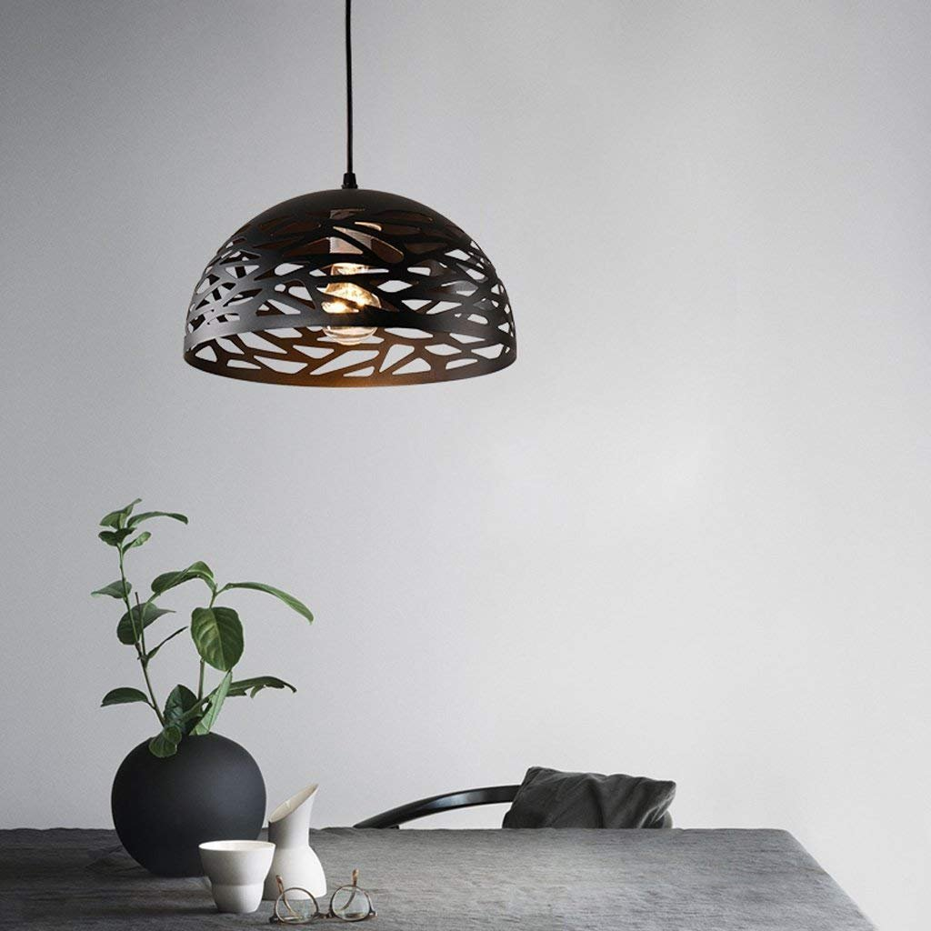 Modeen Modern Simple Iron Metal Pendant Light Industrial Retro Creative Hollow Lampshade Restaurant Bar Kitchen Barn E27 Decoration Adjustable Ceiling Lamp Chandelier (Color : Black)