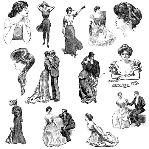 Stamps Clear Studio Paper - Gibson Girl Vintage Portraits Engraving Clear Stamps