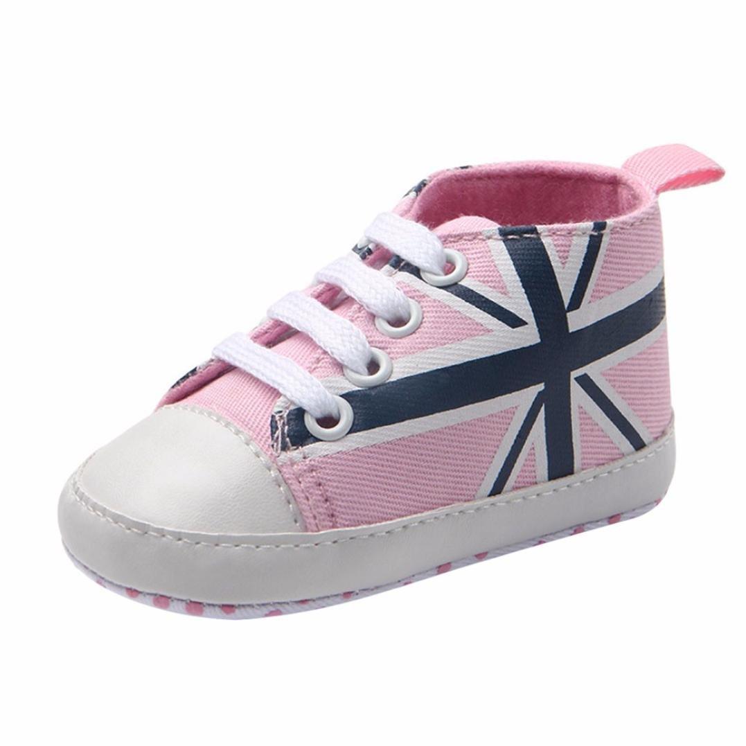 Fineser Newborn Infant Baby Union Jack Flag Print Canvas Shoes Infant Toddler Prewalker Crib Sneakers