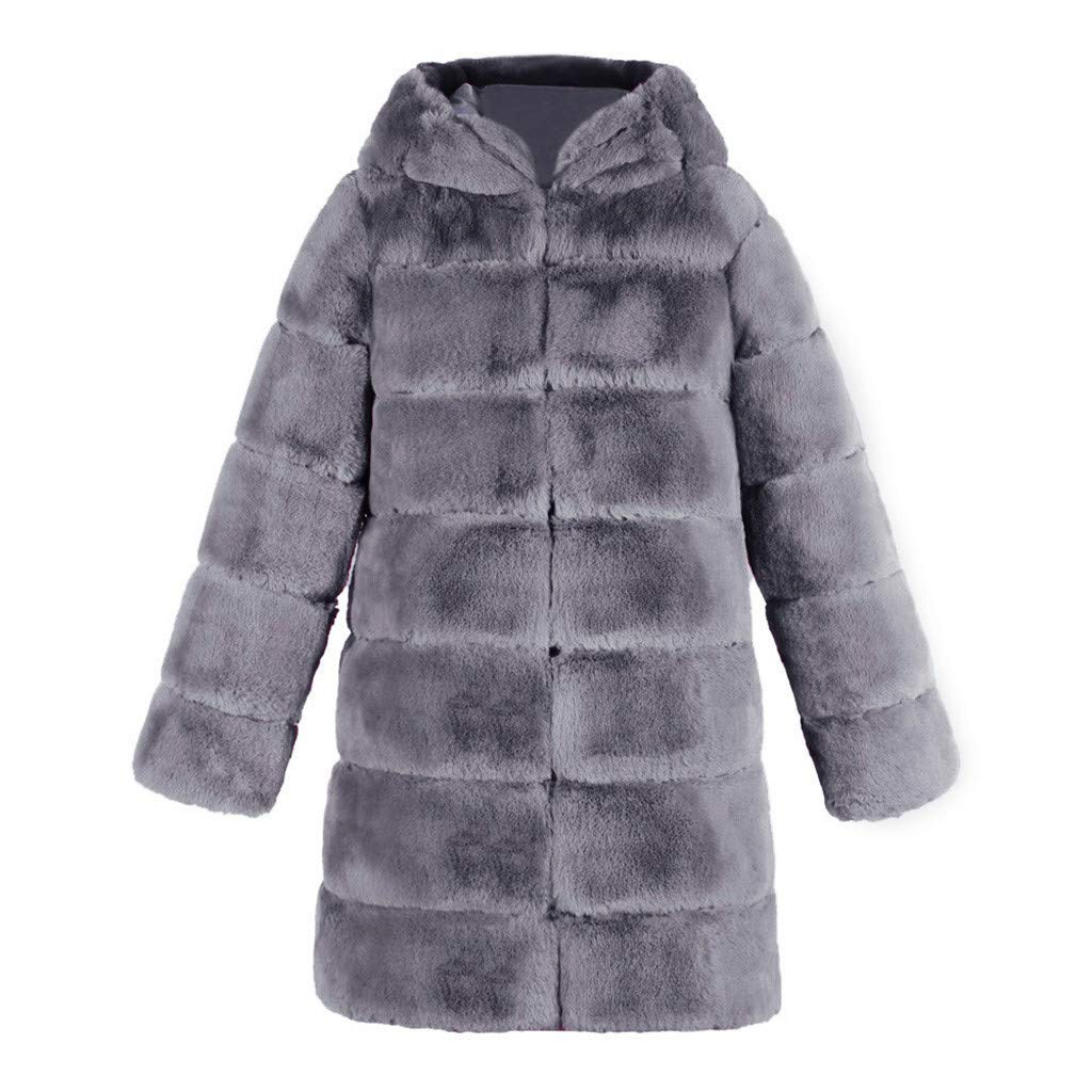 Women's Faux Fur Overcoat,Ladies Winter Hooded Thick Warm Jacket Coats with Pockets by cobcob