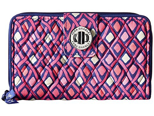 Vera Bradley Womens Turn Lock Wallet Katalina Pink Diamonds Checkbook Wallet ()