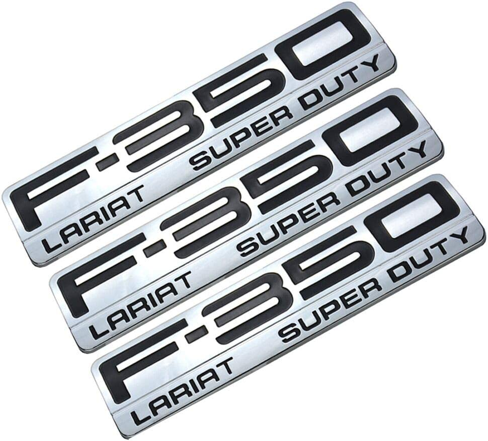 2pack New F-250 Lariat Super Duty Side Fender Emblems Badge 3D Logo Replacement for F350 Lariat Chrome