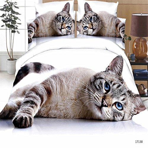 Cat Print 3D Bedding Sets Queen Size for Kids Polyester 3d K