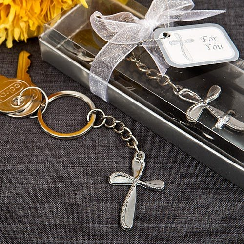 60 Metal Cross Key Chain With Beaded Design