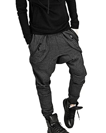 Minetom Hommes Casual Jogging Sarouel Hip Hop Danse Pantalon de Survetement  Pantalons de Sport ( Gris 53eca30b89c