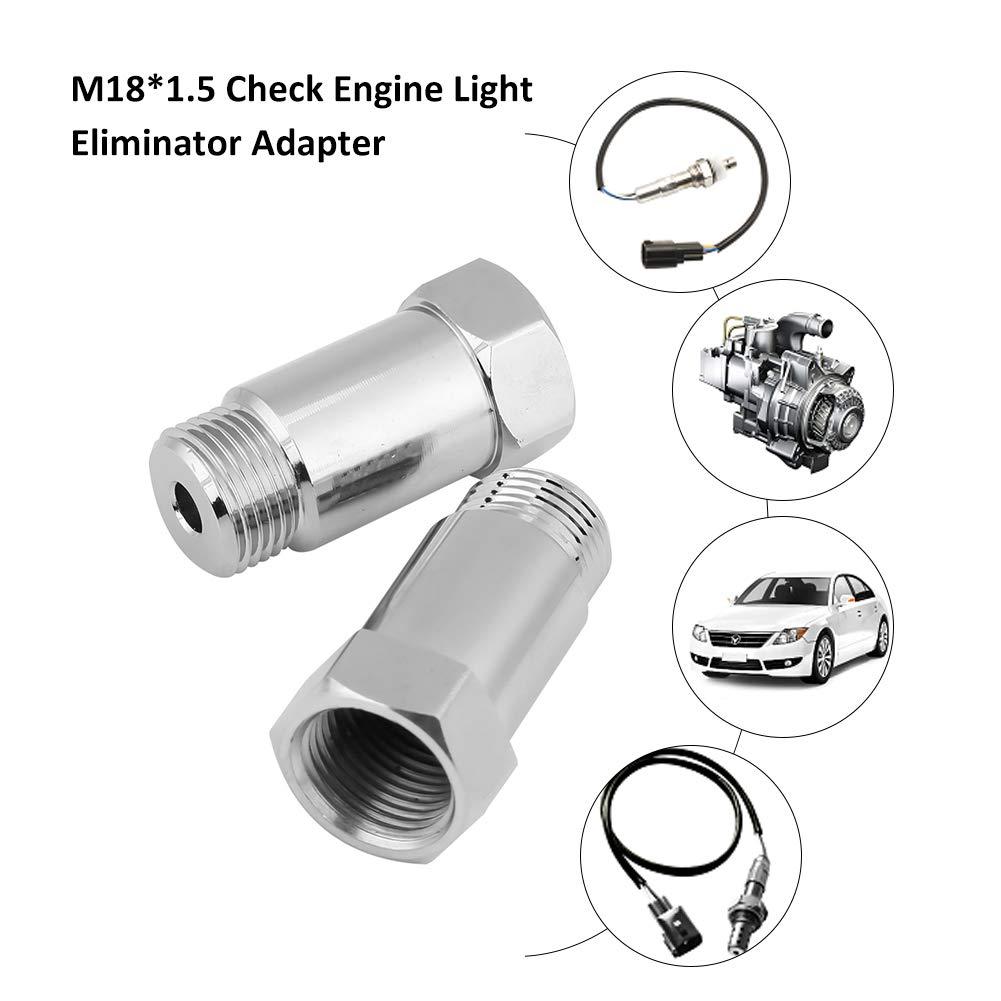 2Pcs M18*1.5 O2 Oxygen Sensor Spacer Adapater Extender Check Engine Light Eliminator Adapter Check Engine Light Fix Extension Type C Silver 45mm length