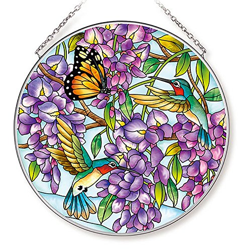 Amia 42616 Wisteria Large Glass Circle Sun Catcher, Multicolor