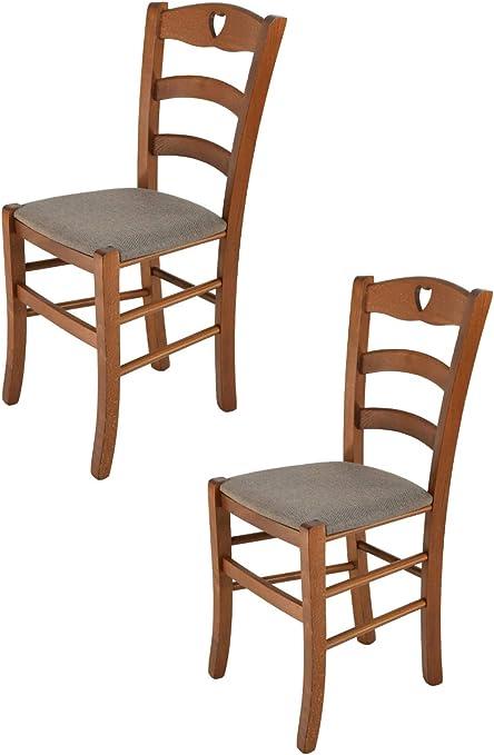 tmcs Tommychairs Set 2 sedie Classiche Cuore per Cucina e Sala da Pranzo, Struttura in Legno di faggio Verniciata Color Noce e Seduta Imbottita e