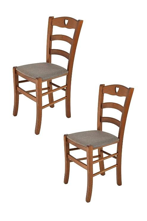 Sedie Classiche Imbottite Per Sala Da Pranzo.Tommychairs Set 2 Sedie Classiche Cuore Per Cucina E Sala Da Pranzo Robusta Struttura In Legno Di Faggio Verniciata Color Noce E Seduta Imbottita E
