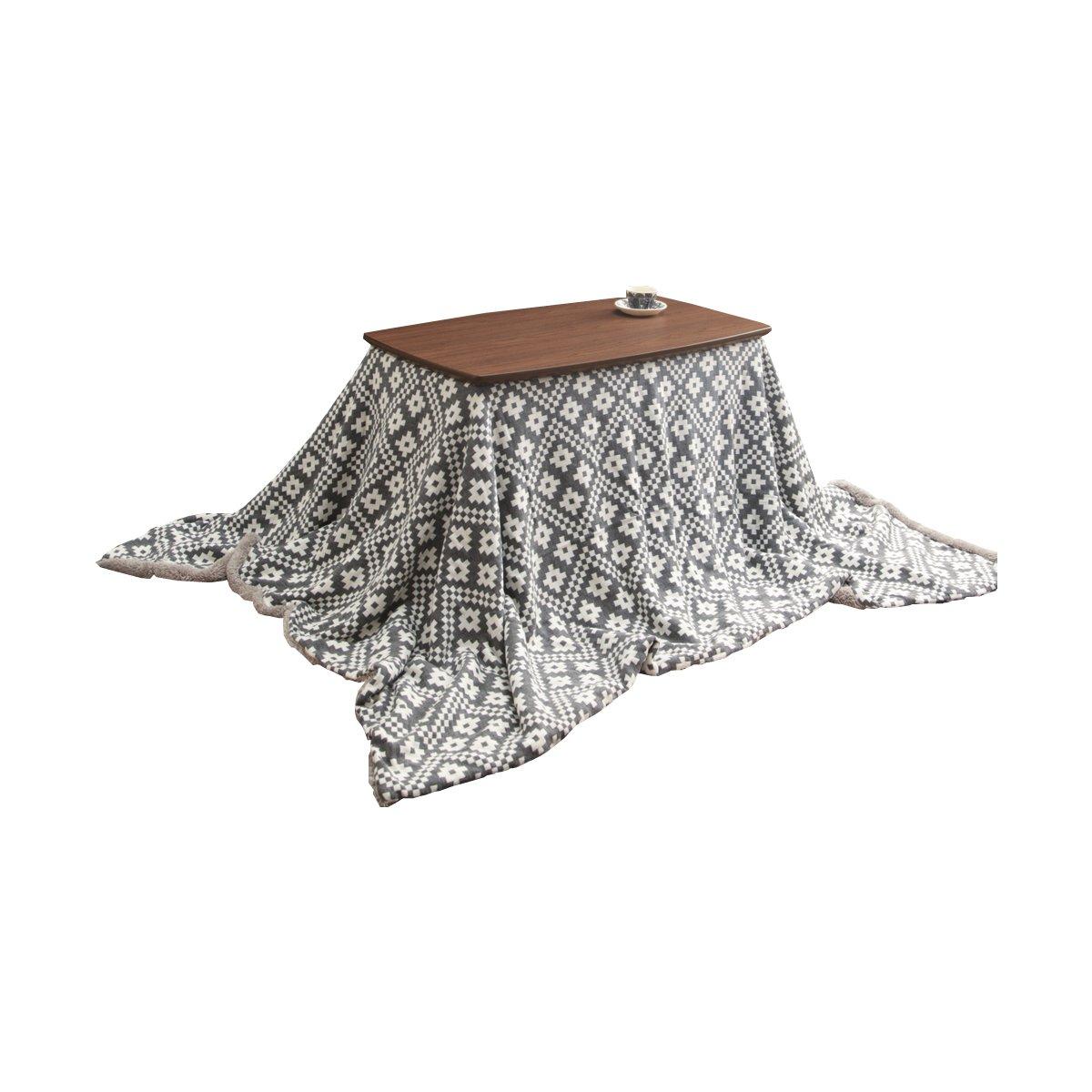 グレー/Topo こたつセット 90×50 こたつ こたつテーブル こたつ布団 2点セット 高さ調節 フラットヒーター 天然木 継ぎ脚  グレー B01MEG11G8