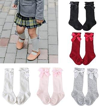 Bow Knit Cotton Children/'s Pantyhose High Knee Sock Stockings Baby Girl Socks