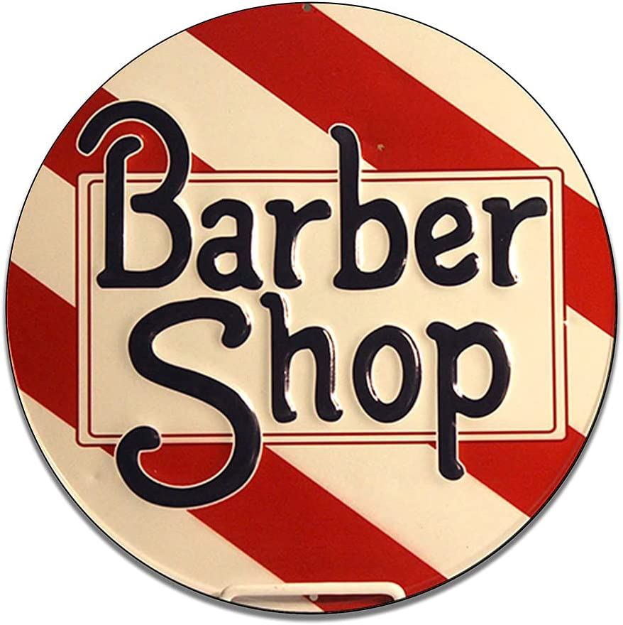 Brotherhood Barber Shop Spiral Pole Haircut Scissors Salon Welcome Store On Duty Garage Signs Metal Vintage Style Decor Metal Tin Aluminum Round Sign Home Decor with 2 American Flag Vinyl Decals