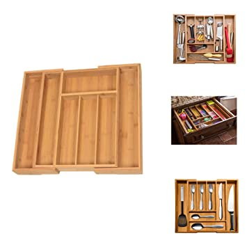 yontree cajón de bambú Organizador de cajones ampliable Cubiertos de almacenamiento bandeja de cubertería Exp: Amazon.es: Hogar