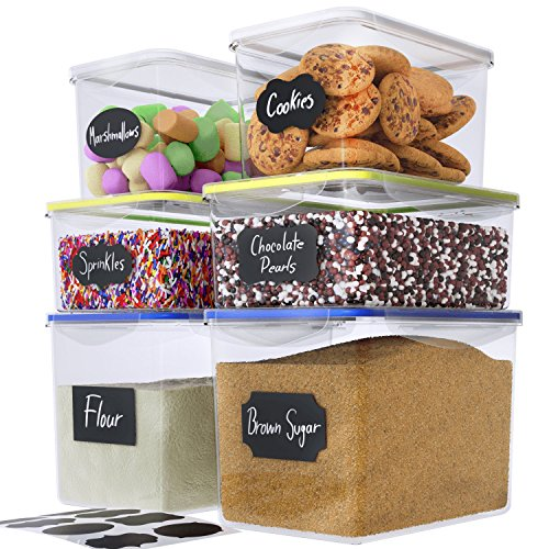 Chef's Path Large Food Storage Containers - Great for Flour, Sugar, Baking Supplies - BEST Airtight Kitchen & Pantry Bulk Food Storage - BPA Free - 6 PC Set & 8 FREE Chalkboard Labels (Pasta Food Containers Storage)