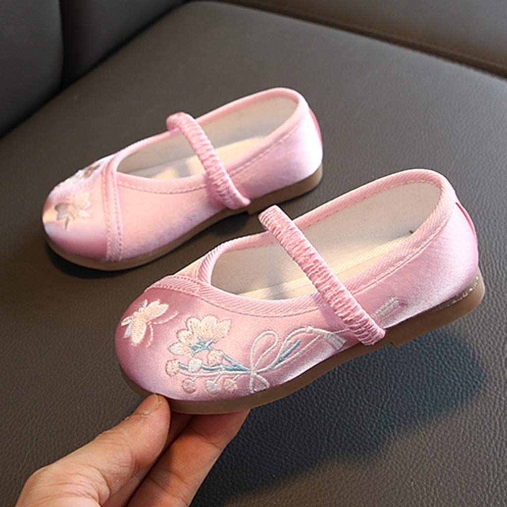 ☁ Janly Baby Shoes ☁ for 1-3 Years Old Toddler Infant Kids Baby Girls Embroidery Floral Flower Single Princess Shoes