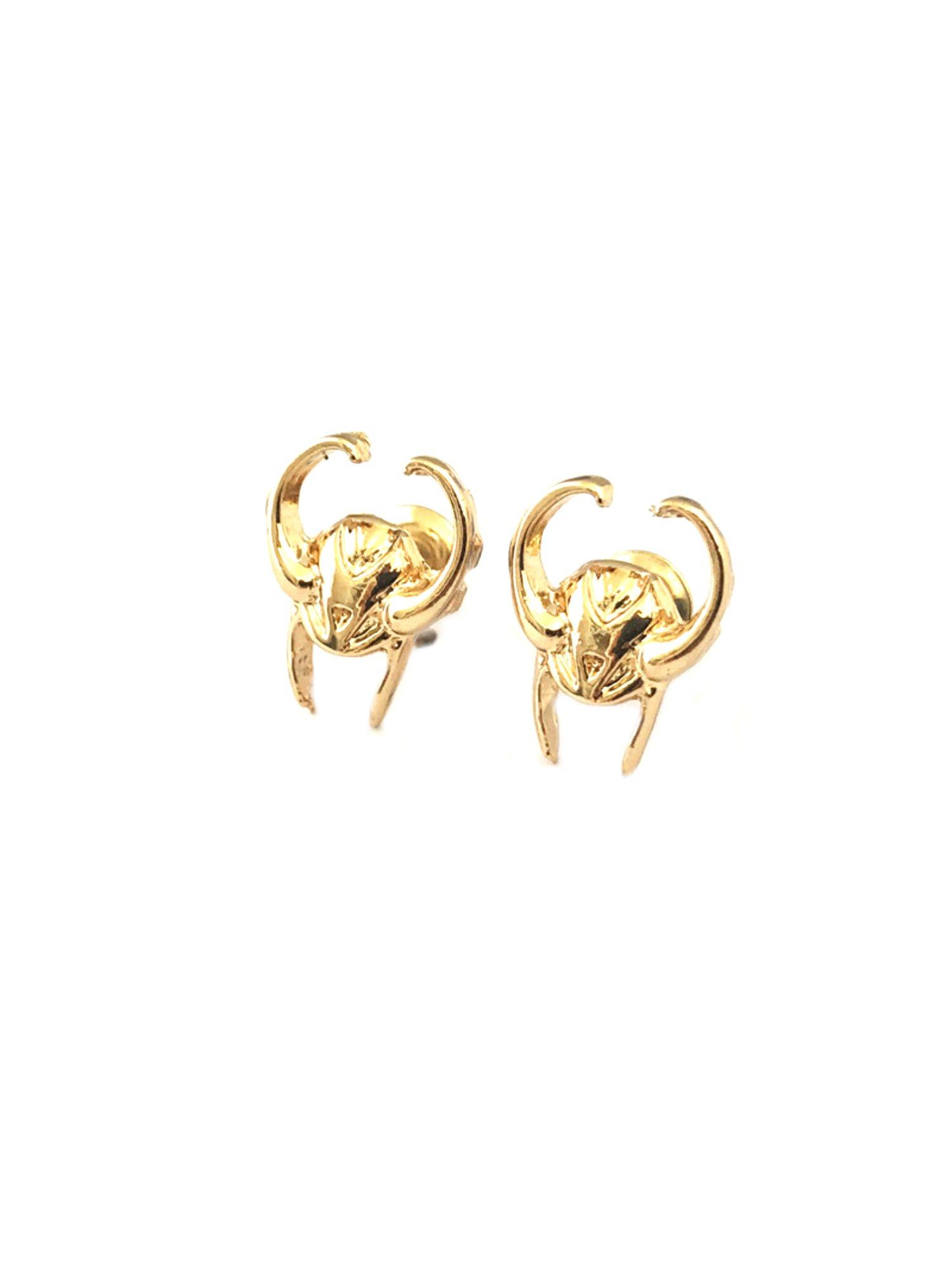 Loki Post Stud Earrings Marvel Comics 2018 Movies Avengers Infinity War Cartoon Superhero Logo Theme Premium Quality Detailed Cosplay Jewelry Gift Series