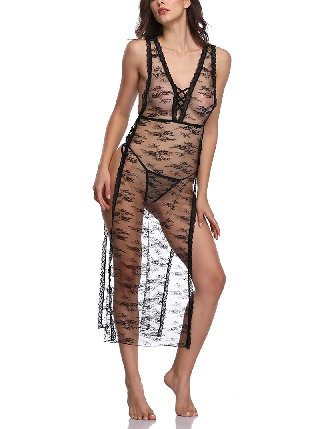 ddf8f79a78 Amazon.com  Women Sexy Lace Sleeping Sheer Gown Dress See Through Long  Nightgown Deep Plunge V Lingerie  Clothing