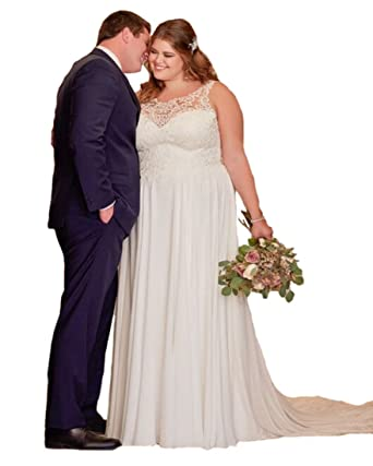 Lilyla Womens Plus Size Sweetheart Neckline Beach Wedding Dresses ...