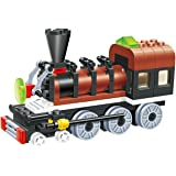 Sleek Train - long chassis 85 pcs building blocks steam double window cabin engine locomotive railway train set, 5 wheels for extra power drive - a dream gift for 6+ children, compatible parts