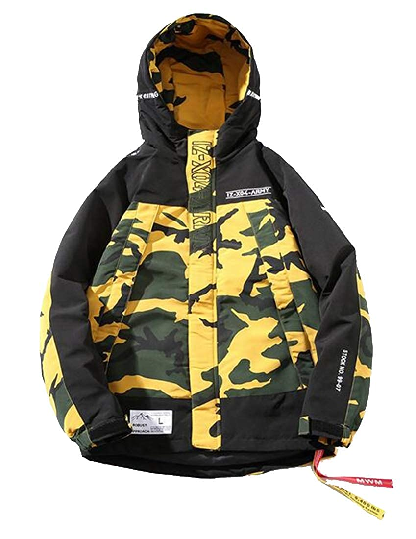 Jofemuho Mens Contrast Loose Camouflage Thermal Plus Size Quilted Jacket Parka Coat Outerwear