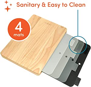 Quick Change 4 Mat Sanitary Easy-Clean Cutting Board Set (Rubberwood Board with Durable BPA Free Mats)