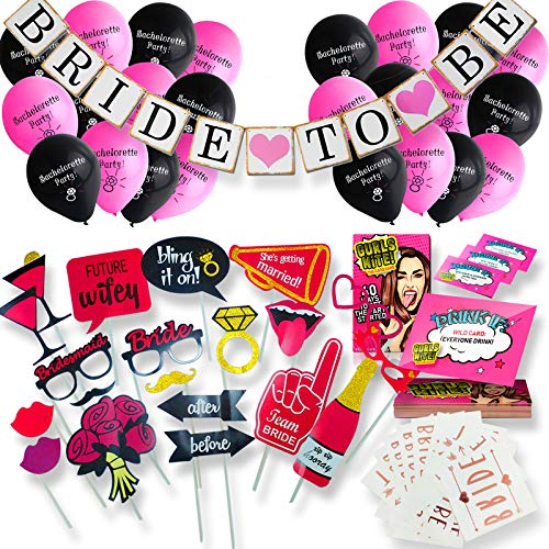 Bachelorette Party Decorations Set  - Complete Engagement and Bridal Shower Supplies Kit with Bride To Be Banner, Rose Gold Sash, Bride Tribe Tattoos, Drinking Card Games, Photo Booth Props, Balloons -