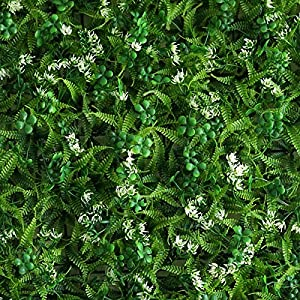 BalsaCircle 4 pcs Green Artificial Fern Leaves with White Mini Flowers UV Protected Wall Backdrop Panels Wedding Party Decorations Decorations Supplies 4