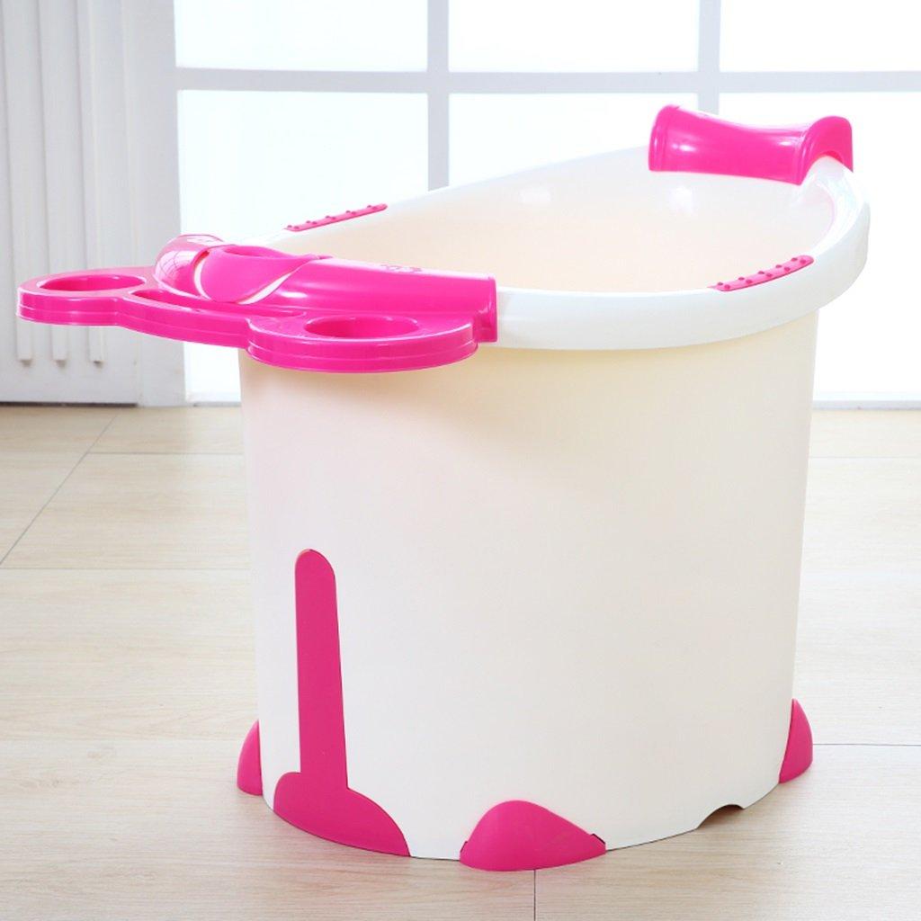 Sunhai& Bath Tubs Large Children's Bath Tub Plastic Baby Bath Tub Children Can Sit In The Bath Tub ( Color : White And Red Models )